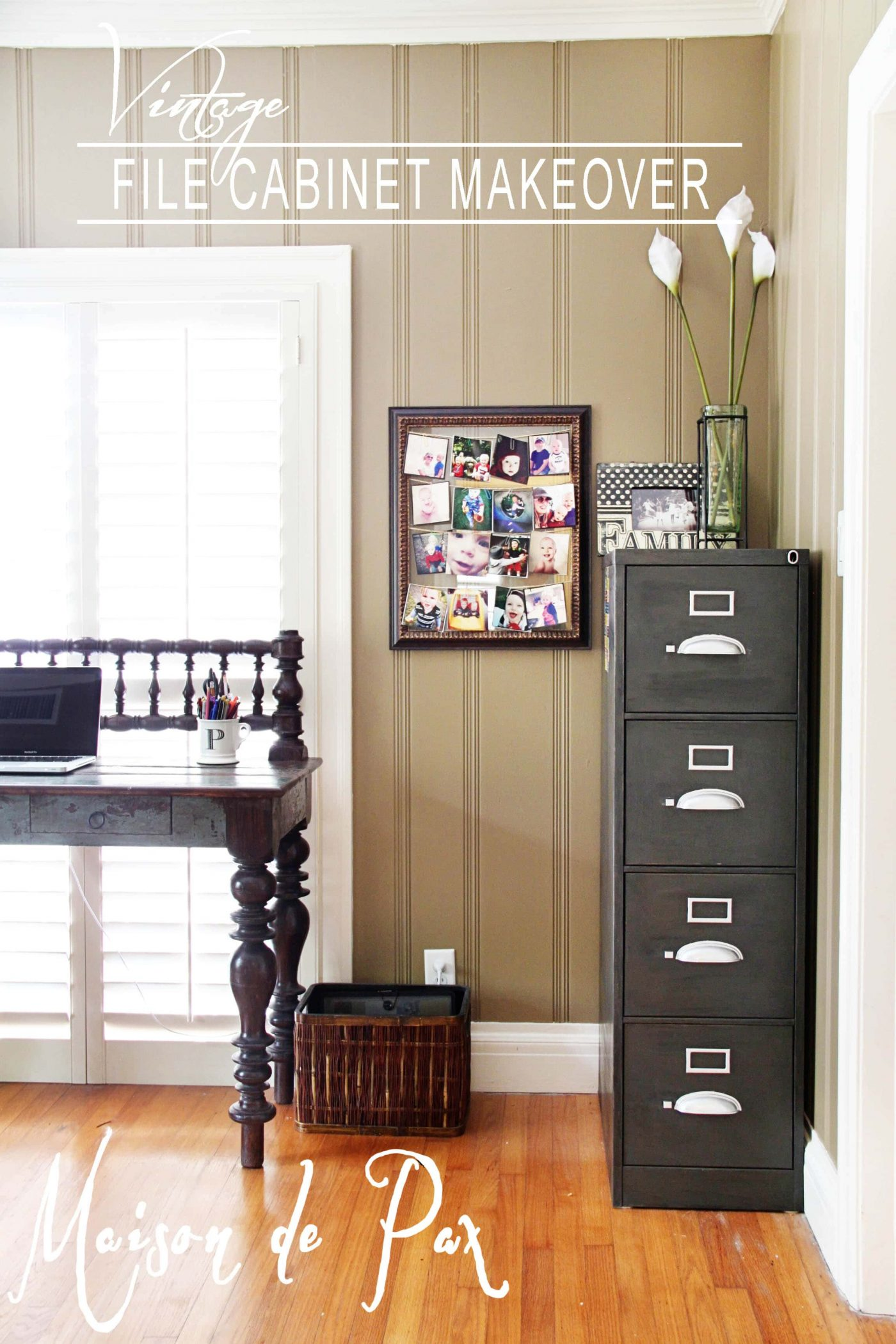 give an old, beat-up file cabinet a rich, vintage patina
