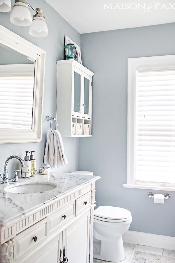 I love this bathroom! Gorgeous finishes and brilliant ideas for  space-efficient solutions at