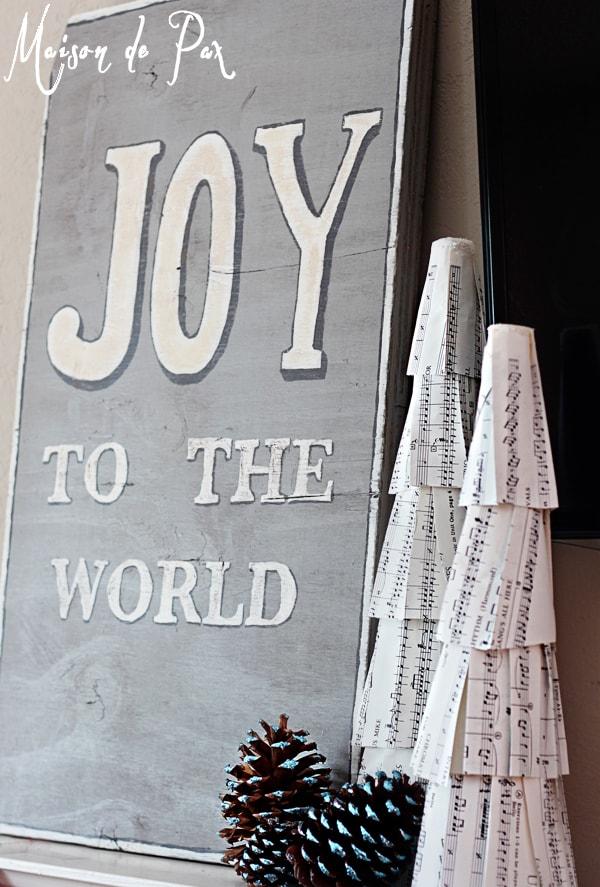 blue christmas mantel joy sign