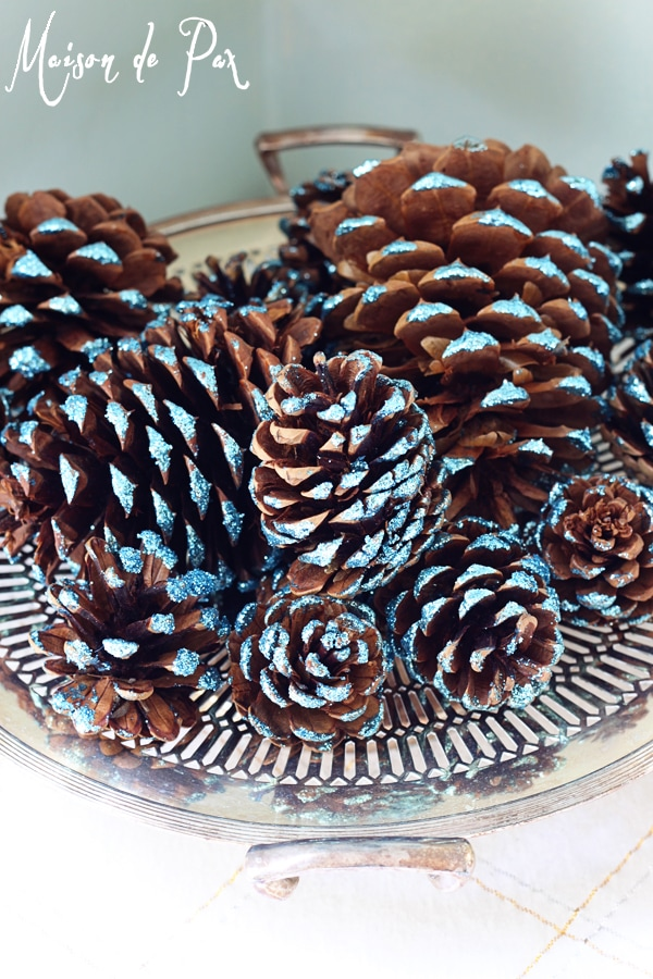 blue glitter pinecones bowl