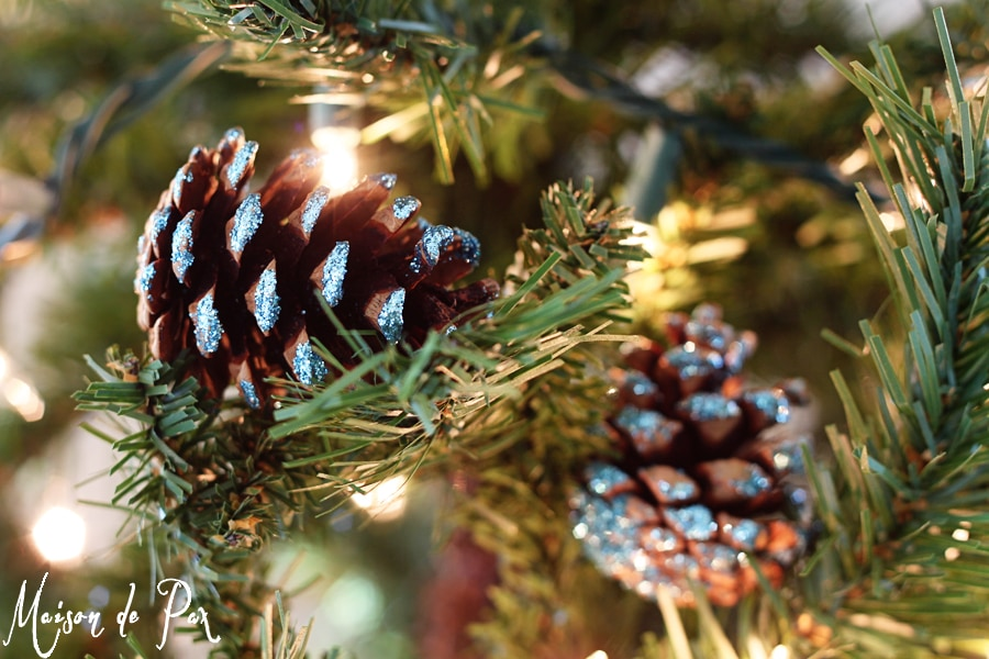blue glitter pinecones