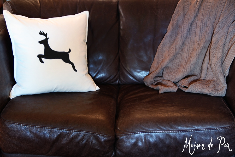 plain cushion with drawn on sharpie design