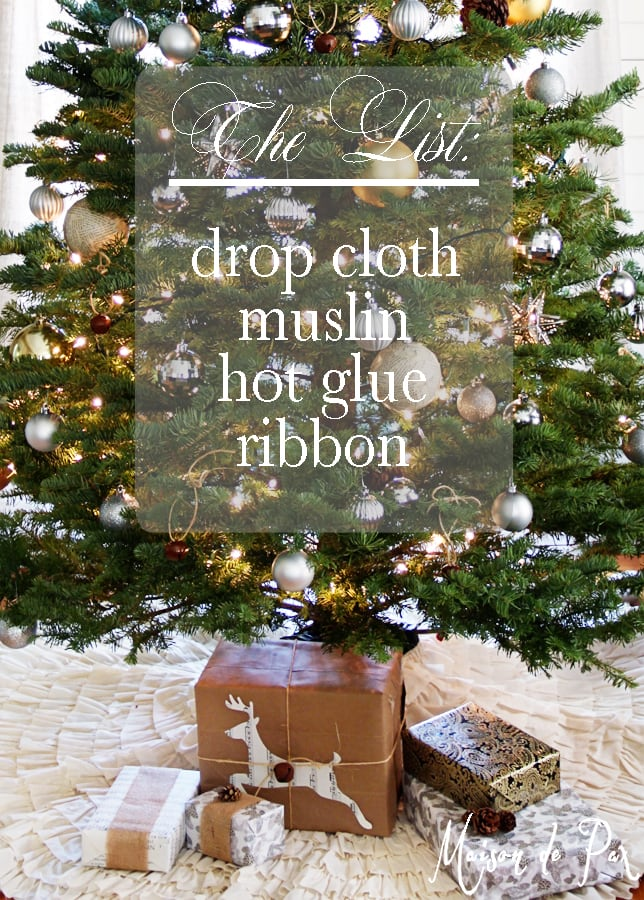 ruffled tree skirt list sign