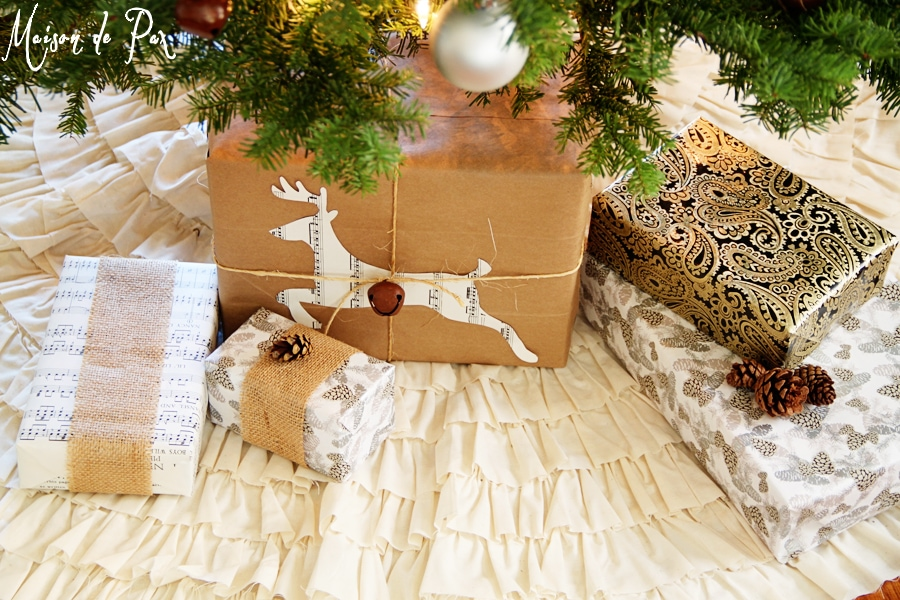 ruffled tree skirt with presents