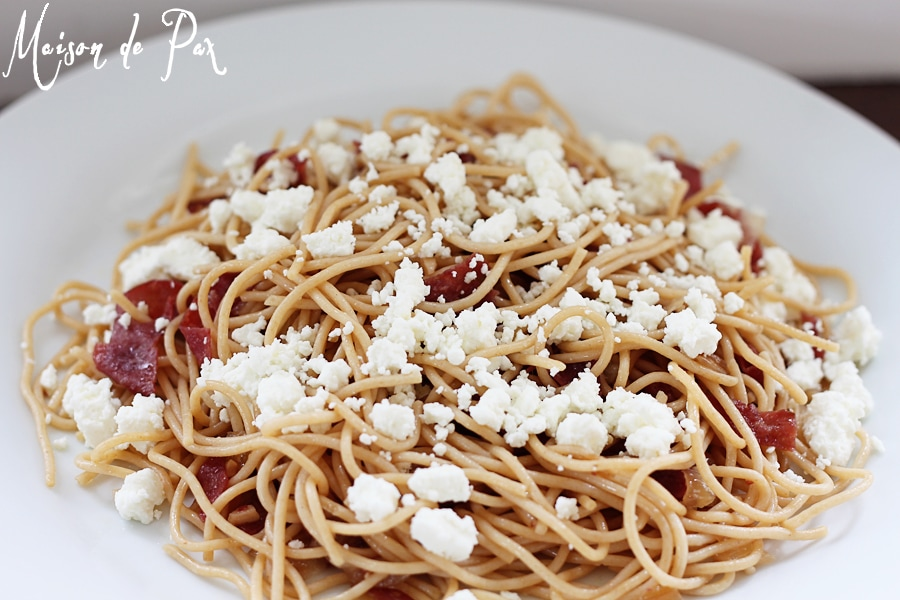 Delicious and oh-so-quick-and-easy, this sweet and smoky goat cheese pasta should be in every cook's repertoire!