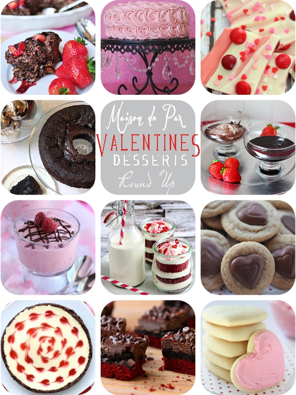 An amazing round up of decadent Valentine's Day desserts!