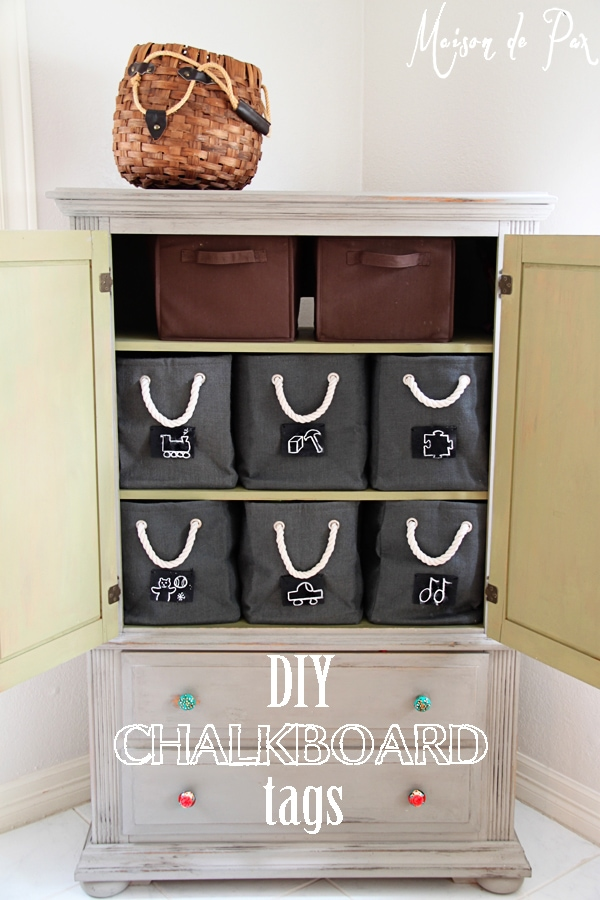 diy chalkboard tags in armoire