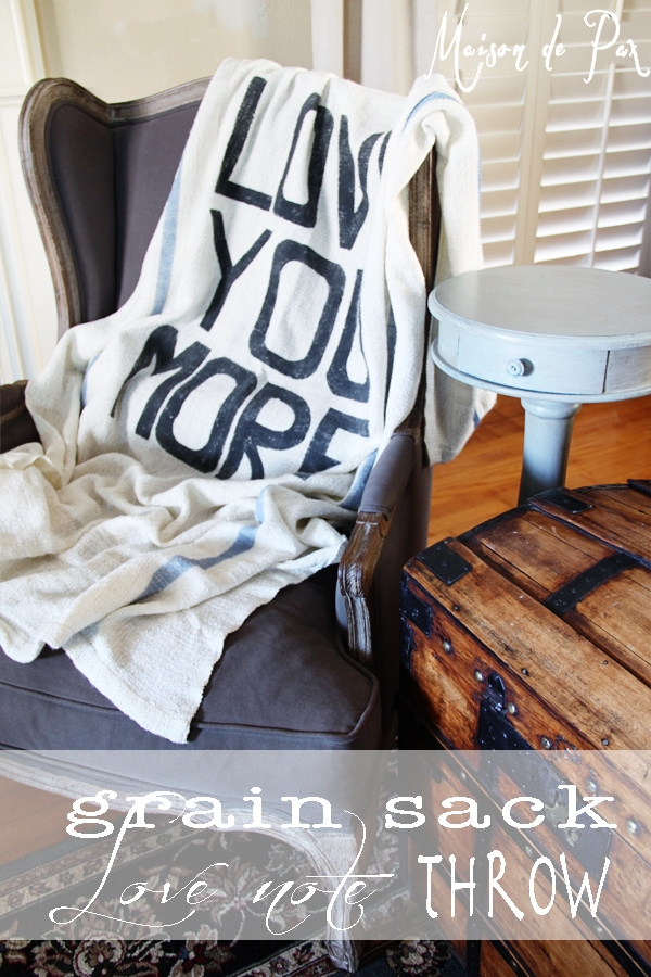 diy grain sack throw blanket with typography
