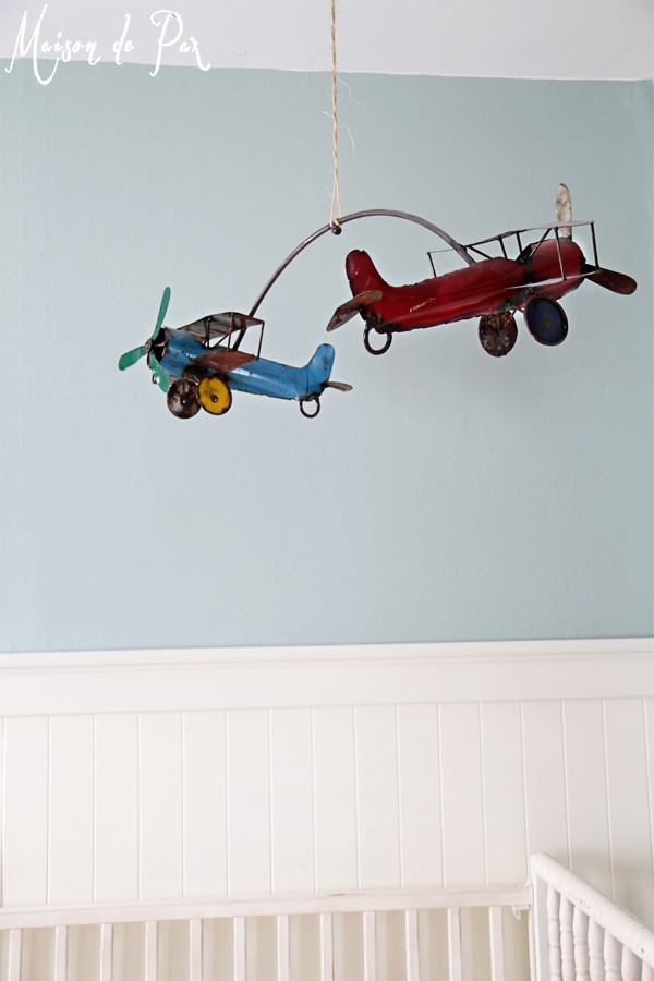 vintage airplane crib mobile