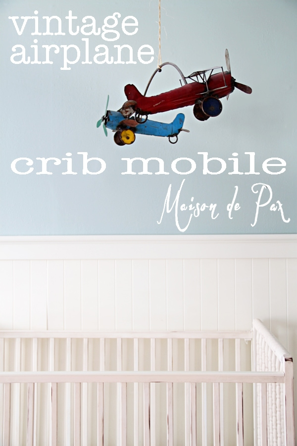 vintage airplane crib mobile sign