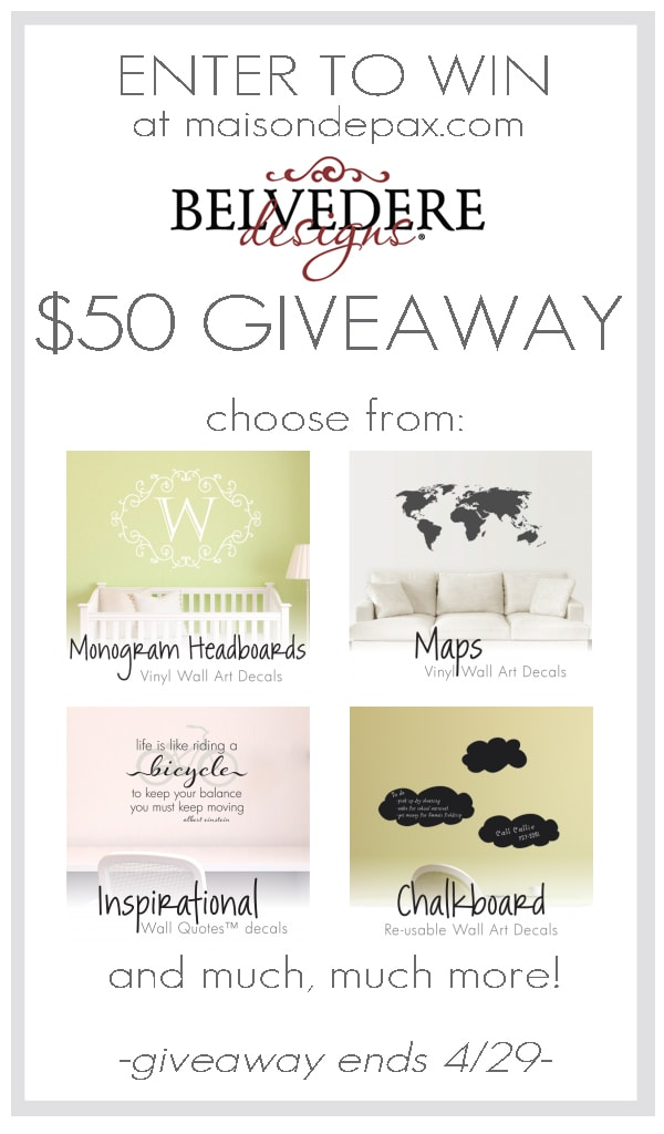Enter at maisondepax.com to win $50 to wallquotes.com - adorable vinyl wall quotes and art for your home!