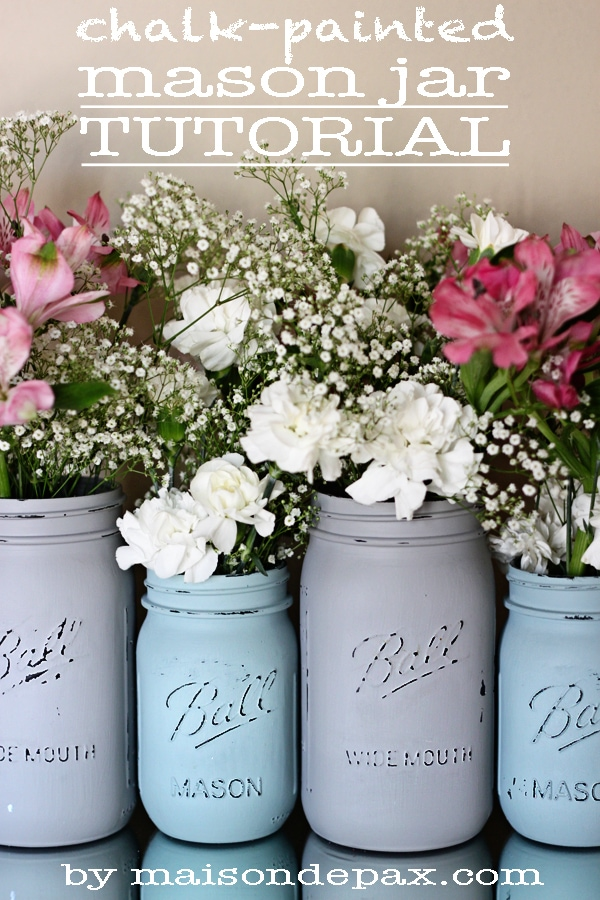 Click through for step-by-step instructions to create your own gorgeous painted mason jars!