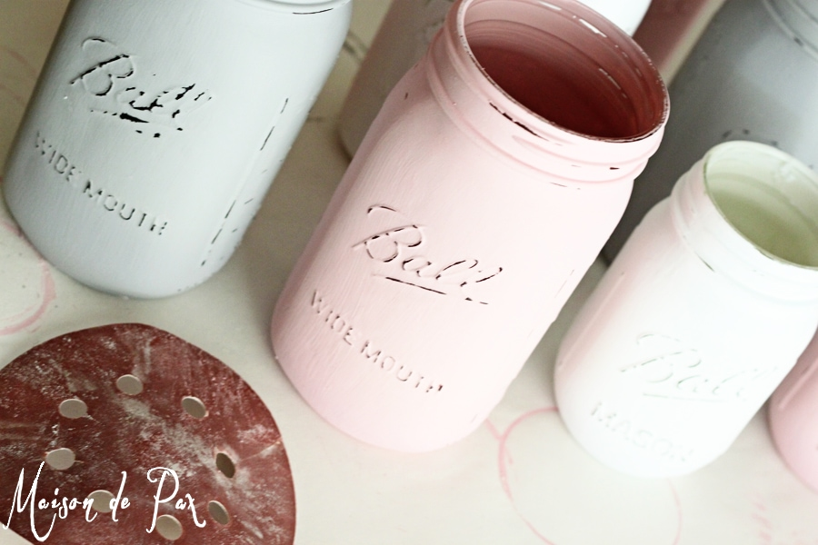 mason jars sanded