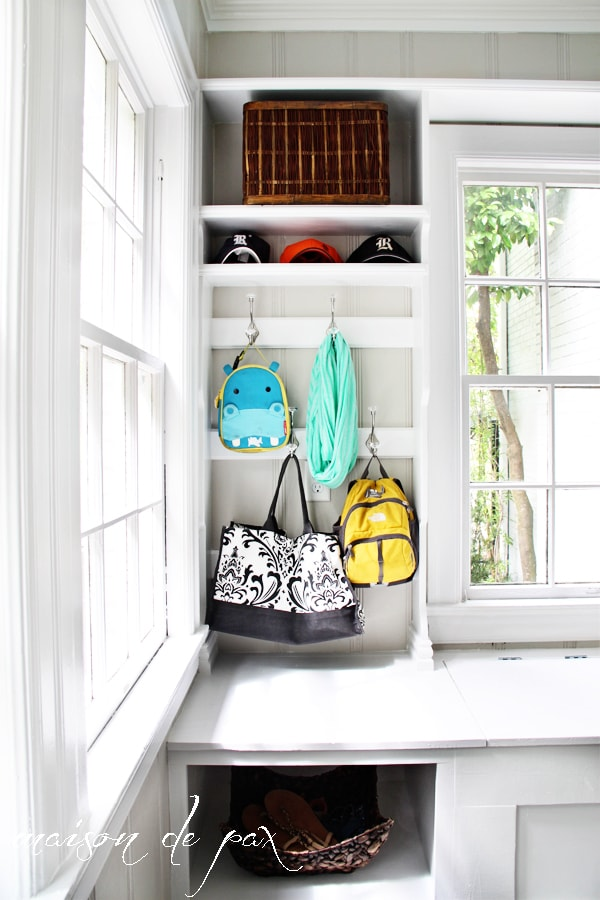 Who couldn't use more beautiful and functional storage?  Don't miss this DIY mud room unit in the laundry room at maisondepax.com
