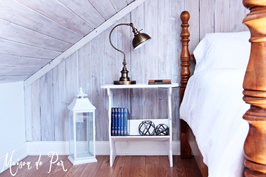 A gorgeous bedside table done in crisp white with dark distressed edges... See beautiful styling and a simple tutorial at maisondepax.com!