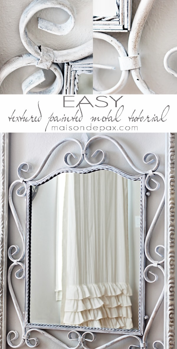 Get a beautifully textured and aged look on metal in ONLY 2 STEPS with this tutorial at maisondepax.com #diy #paint