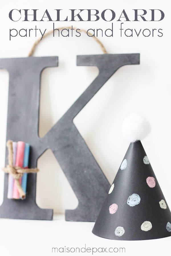 Perfect for your next party, these little chalkboard party hats are so easy precious! Get the tutorial at maisondepax.com #diy #howtomake #kids #birthday #newyears #template #paper