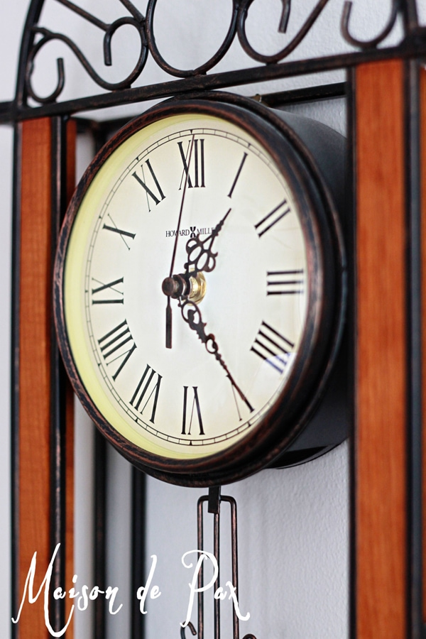 chippy metal clock before