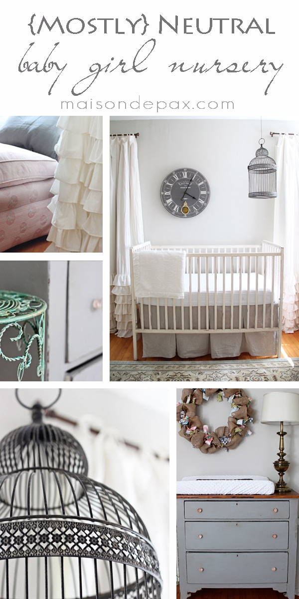 Gorgeous, subtle, mostly neutral nursery with touches of French and farmhouse charm at maisondepax.com