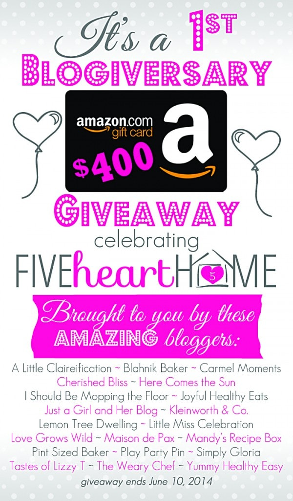 Don't miss this $400 Amazon Gift Card giveaway.  No purchase necessary.  Enter at maisondepax.com