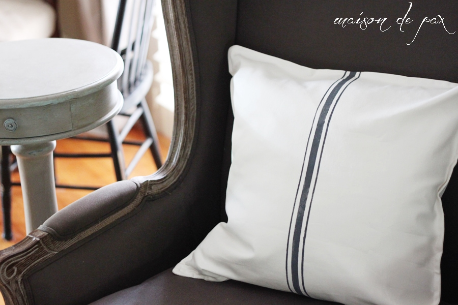"""Find out how to make beautiful """"grain sack"""" pillow covers for just $4 at maisondepax.com! #paint #diy #ikea #hack"""