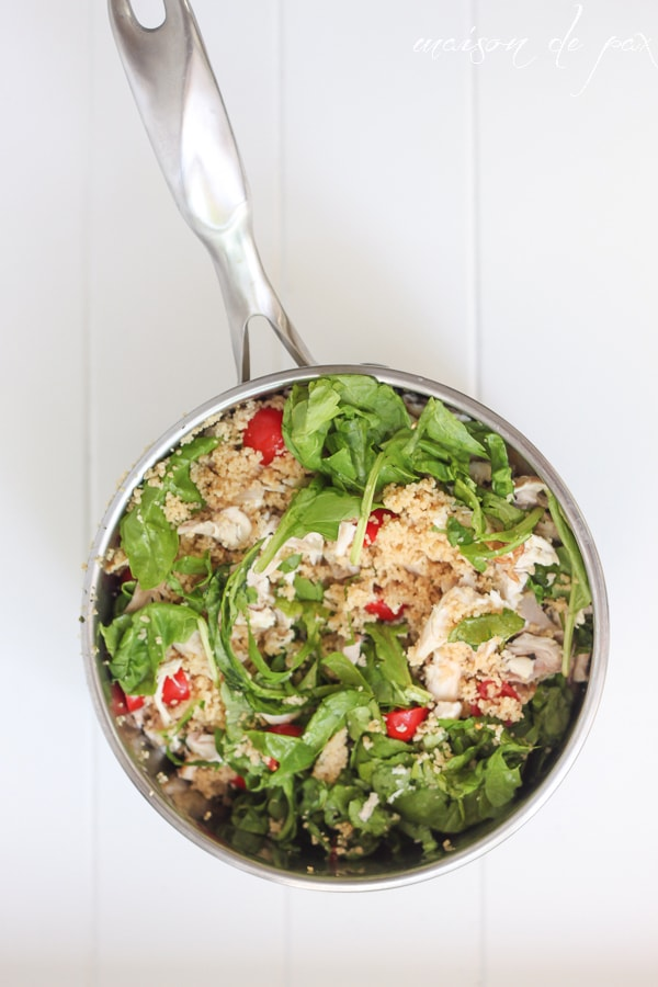 10 minutes or less! Delicious chicken, tomato, and basil couscous at maisondepax.com is a healthy and easy family favorite.