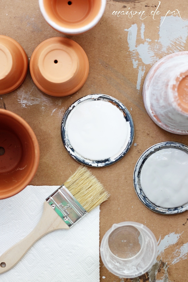 Create your own aged patina on terra cotta pots with this simple tutorial at www.blissfulanddomestic.com