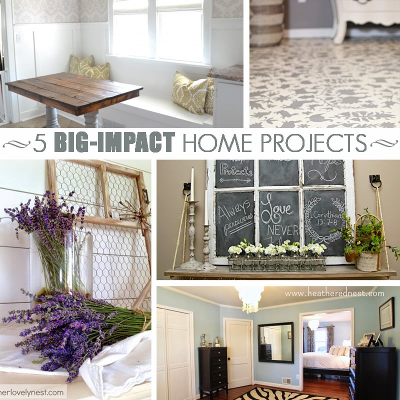 5 Big Impact DIY Projects: board and batten, plank wall, painted floors, and more... See these amazing DIY tutorials for projects that will transform your home!