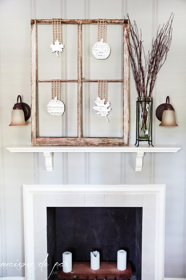 love this! use twine, ribbon, or burlap and some sheet music for fall decor - via maisondepax.com #fall #pumpkin #mantel  #neutral