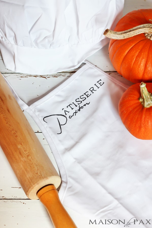 Less than $8 and 15 minutes (plus no sewing required) to make this adorable, personalized chef costume! via maisondepax.com #diy #costume #halloween #apron