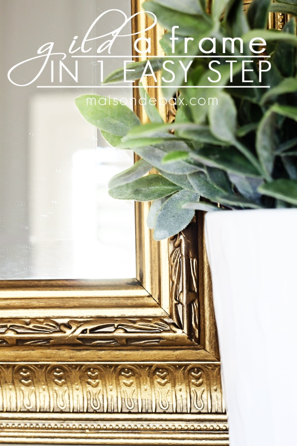 You won't believe this EASY transformation! Just one step to create this gorgeous gilded frame via maisondepax.com #diy #wax #gold #glam #mirror