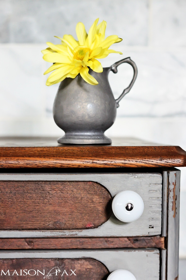 beautiful two-toned antique chest makeover via maisondepax.com #tutorial #diy #stain #paint