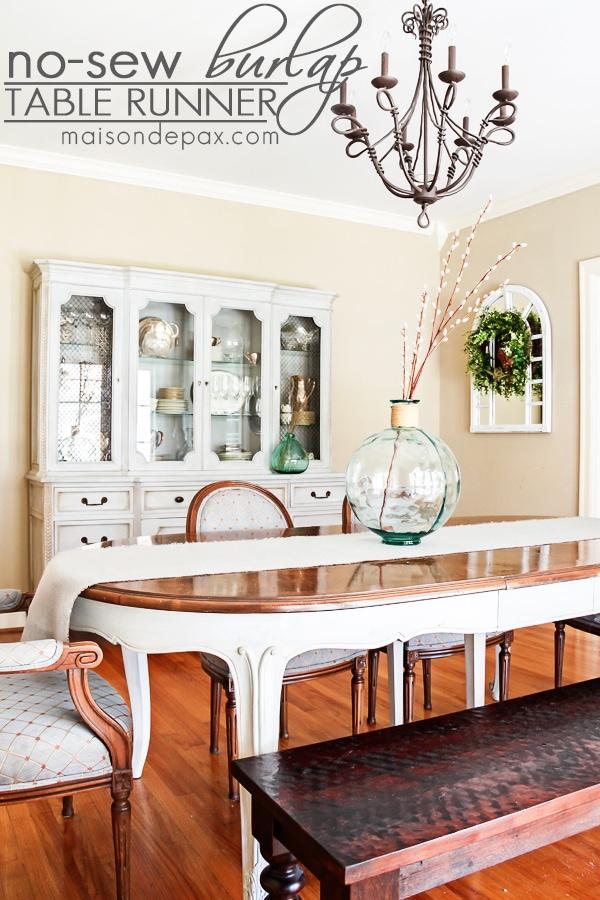 Such an EASY project! No sew DIY burlap table runner via maisondepax.com