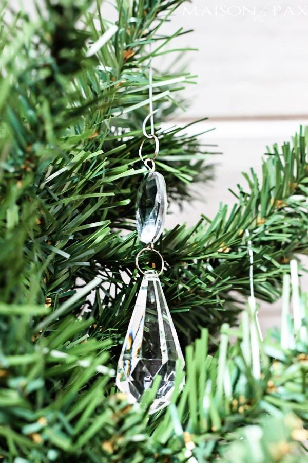 Gorgeous idea! Add chandelier crystals to your Christmas tree |via maisondepax.com #ornament #diy #decor