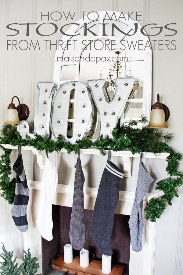 Great idea! complete tutorial on how to turn thrift store sweaters into stockings via maisondepax.com #christmas #decor #sew