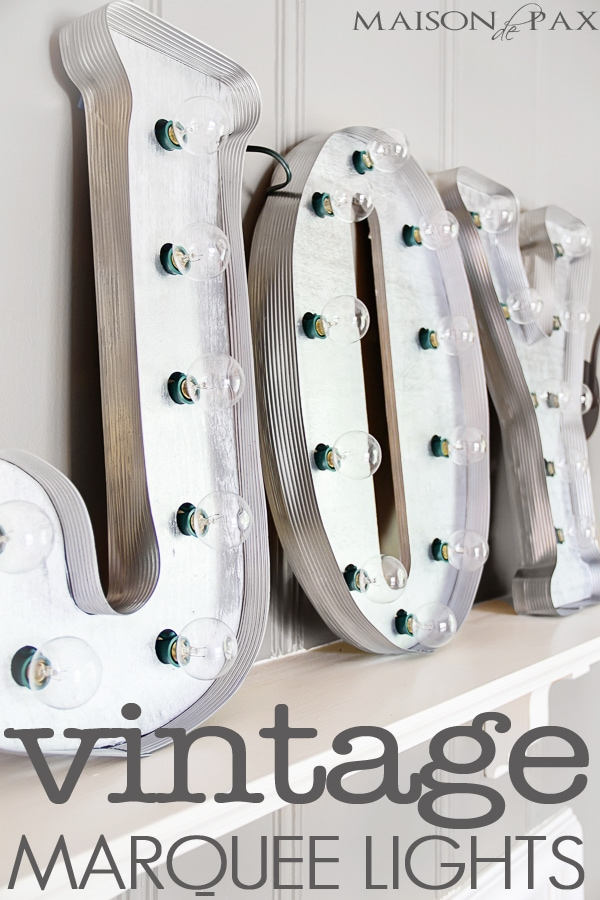 Fabulous tutorial for DIY vintage marquee lights! via maisondepax.com #Christmas #decor