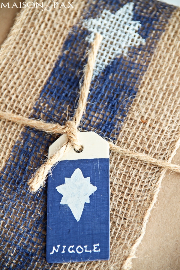 Brilliant! Painted burlap, craft paper, and wood tags make beautiful gift wrap for any occasion | via maisondepax.com
