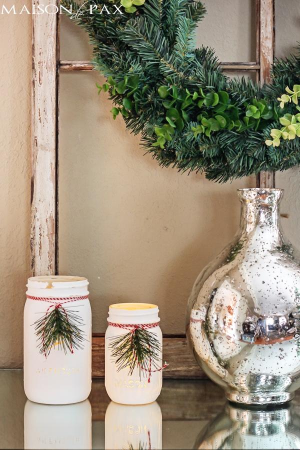 Christmas Mason Jar Luminaries (glass dresser)