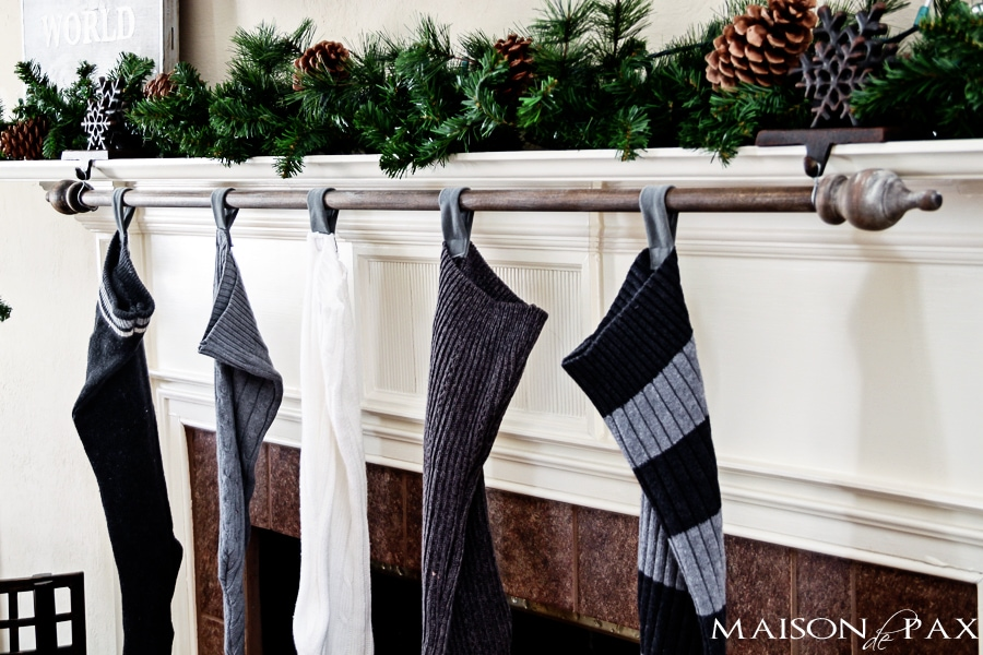 cheap garage bar ideas - Classy and affordable DIY Stocking Hanger Maison de Pax