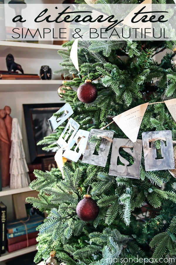 Love this simple tree idea! Book page bunting and ornaments with stenciled words... Simple and beautiful! via maisondepax.com