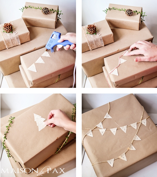 Great gift wrap ideas!  Simple, natural, and gorgeous... via maisondepax.com #hoilday #Christmas #present