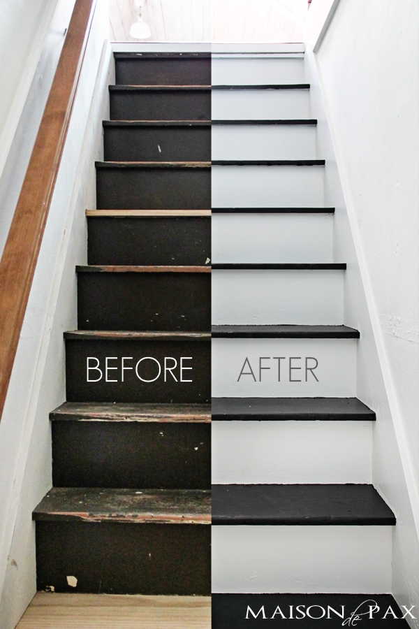 Ordinaire Totally Transformed By Paint! Gorgeous, Simple Black And White Painted  Staircase | Maisondepax.