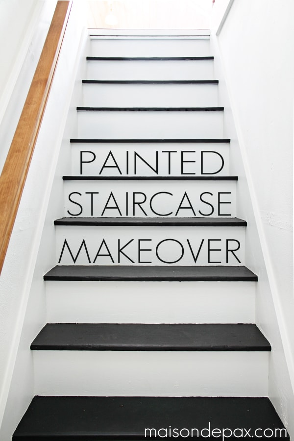 Totally Transformed By Paint! Gorgeous, Simple Black And White Painted  Staircase | Maisondepax.