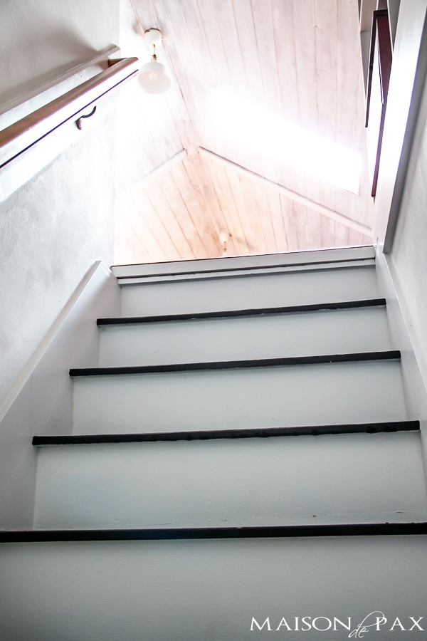 Totally transformed by paint! Gorgeous, simple black and white painted staircase | maisondepax.com