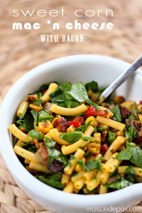 Quick and easy dinner recipe: macaroni and cheese with sweet sauteed veggies and bacon - maisondepax.com