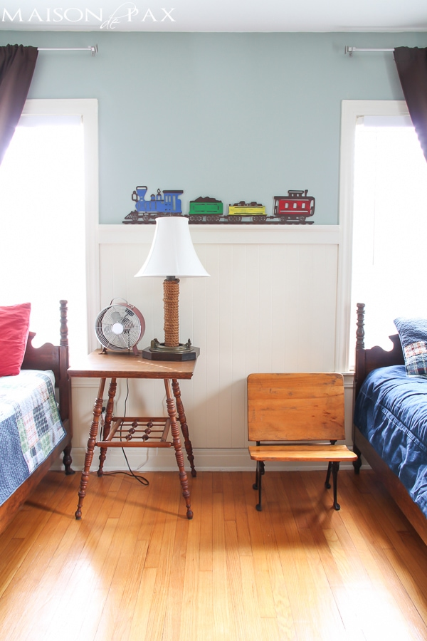boys room with vintage desk as bedside | maisondepax.com