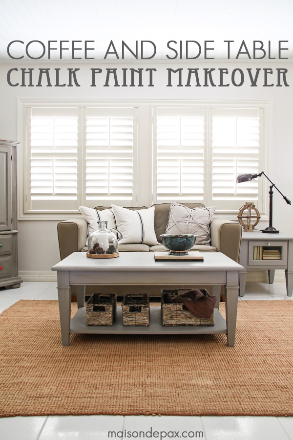 Gorgeous, Simple Gray Chalk Paint Coffee And Side Table Makeover |  Maisondepax.com #
