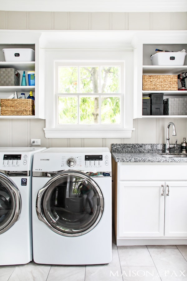 laundry with open shelves above | maisondepax.com