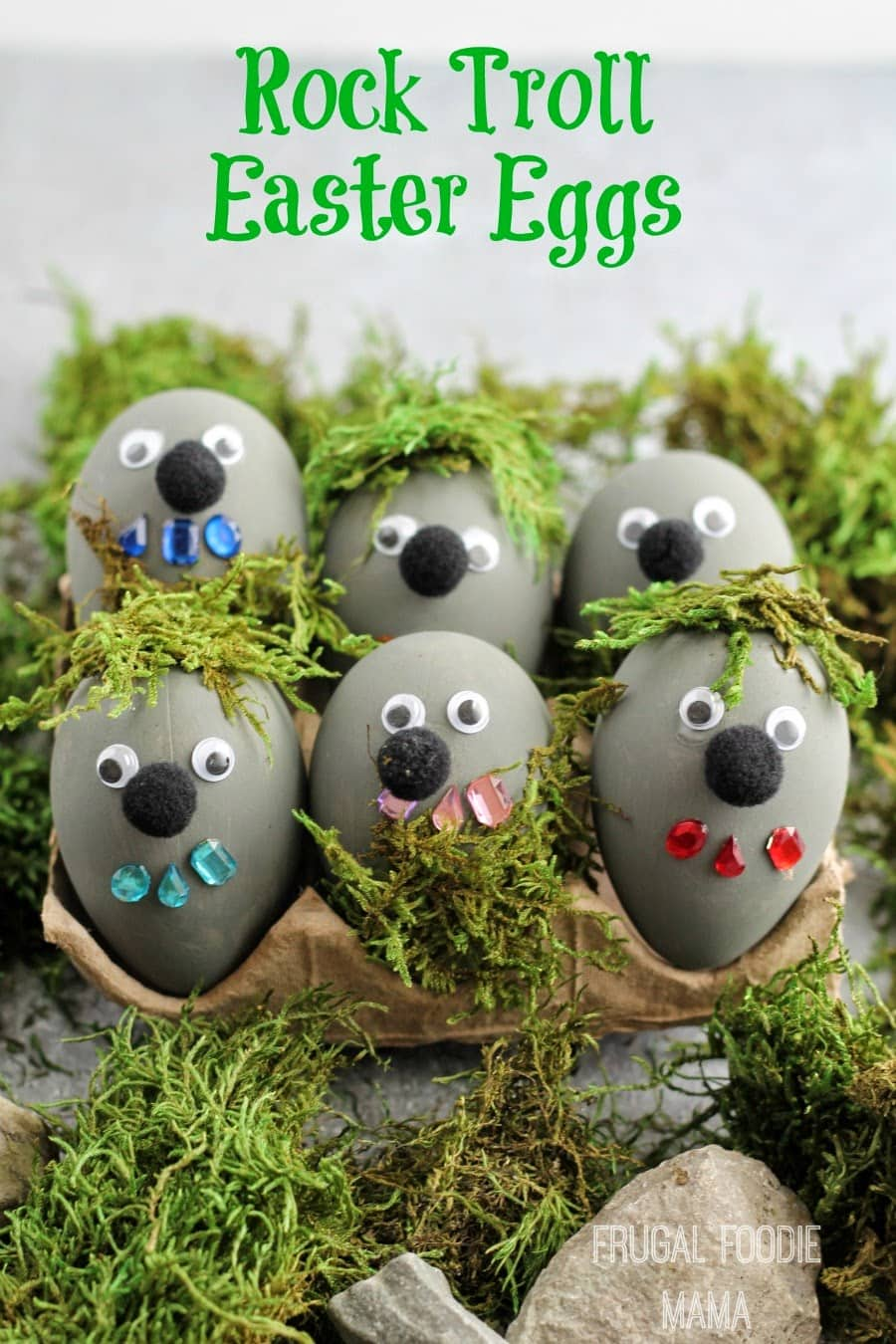 So cute!  Frozen themed rock troll Easter eggs - kids will love it.