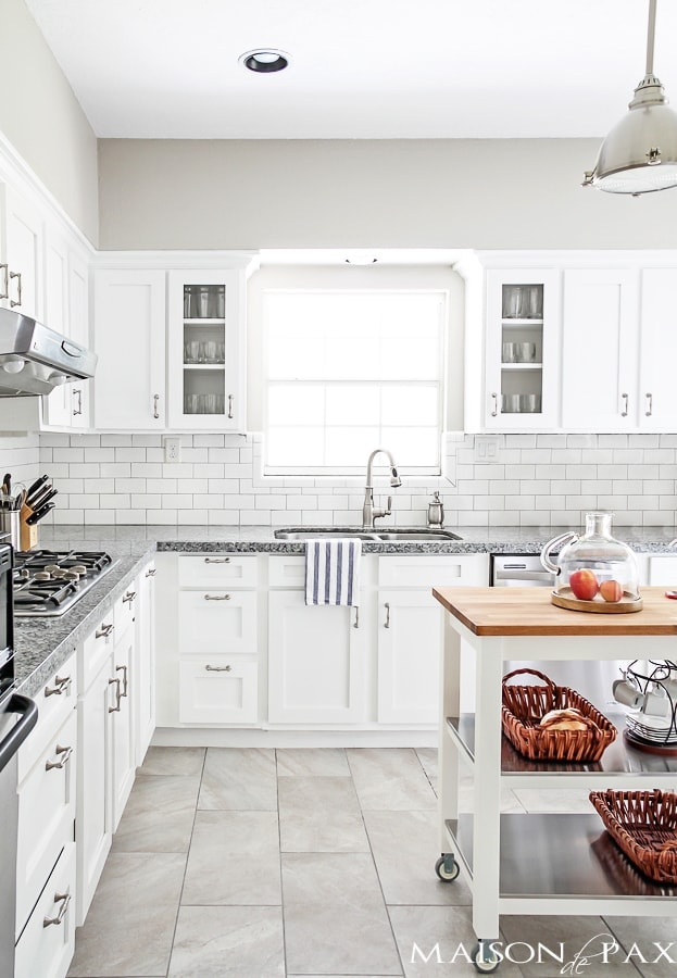 white kitchen with subway tile and gray granite | maisondepax.com
